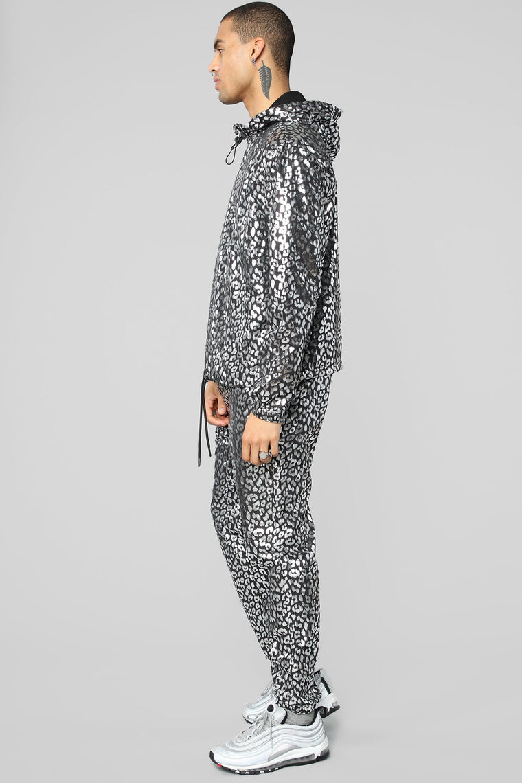 Metallic Leopard Track Pant - Black/Silver
