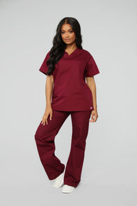 All Better Now Scrub Top - Wine Angle 2