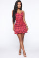 Work It Smocked Mini Dress - Red/Black