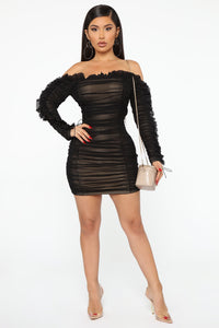 Sincerely Yours Ruched Mini Dress - Black/combo Angle 2