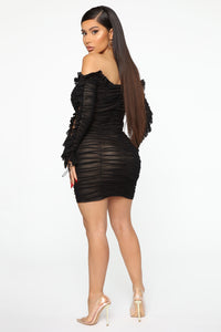 Sincerely Yours Ruched Mini Dress - Black/combo Angle 3