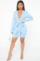 Workaholic Babe Short Set - Blue