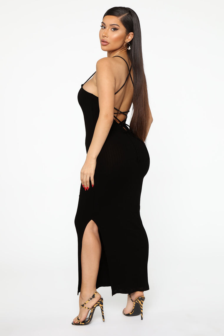 Laced And Ready Midi Dress - Black