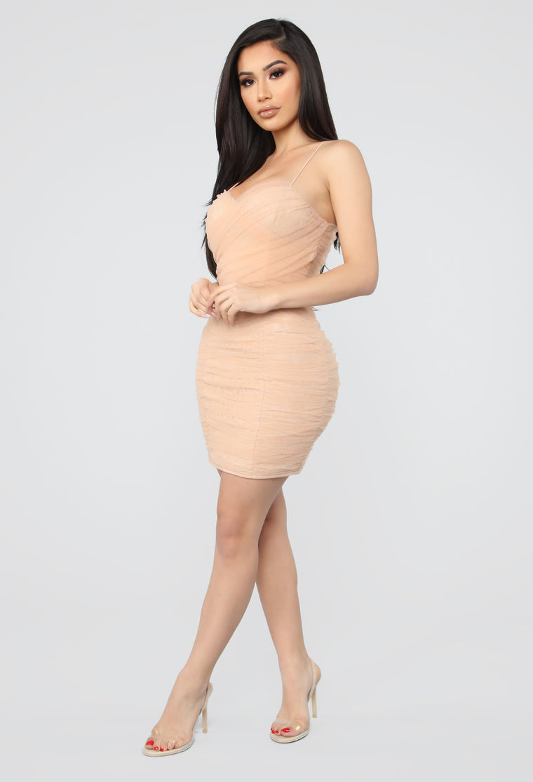 My Honey Dip Ruched Mini Dress - Nude