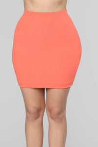 Cross Out The Haters Ribbed Skirt Set - Coral