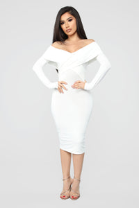 Crossed My Mind Midi Dress - Ivory Angle 1
