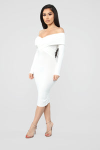 Crossed My Mind Midi Dress - Ivory Angle 3