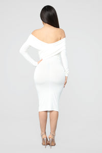 Crossed My Mind Midi Dress - Ivory Angle 4