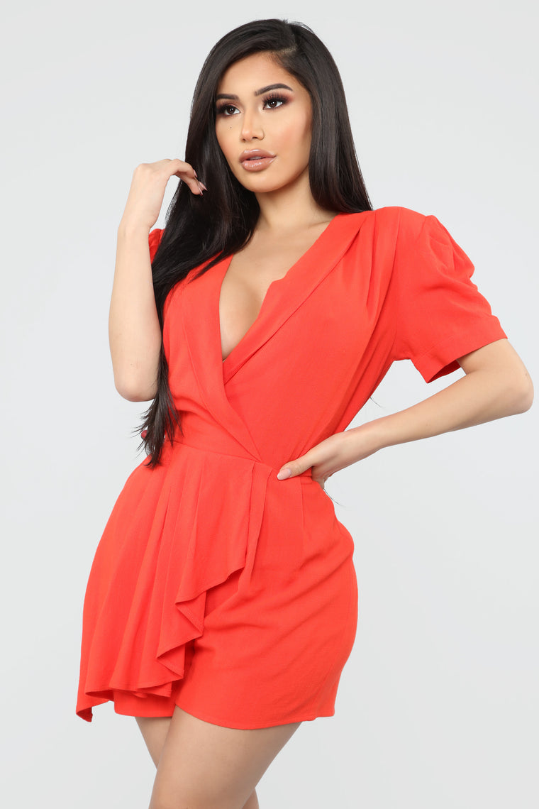 Wylie Wrap Romper - Tomato Red