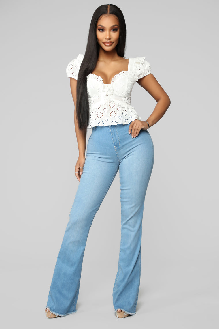 Valentina High Rise Flare Jeans - Light Blue Wash