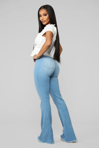 Valentina High Rise Flare Jeans - Light Blue Wash Angle 7