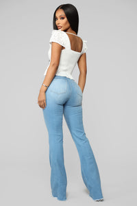 Valentina High Rise Flare Jeans - Light Blue Wash Angle 9