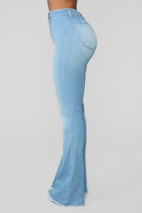 Valentina High Rise Flare Jeans - Light Blue Wash Angle 6