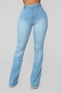 Valentina High Rise Flare Jeans - Light Blue Wash Angle 4