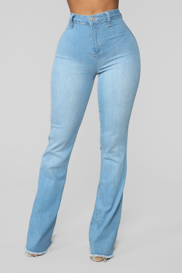 db92157553a Valentina High Rise Flare Jeans - Light Blue Wash