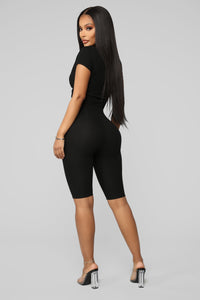Knot So Subtle Ribbed Pant Set - Black