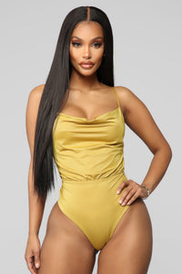 Samantha Cowl Neck Bodysuit - Lime