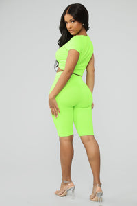 Knot So Subtle Ribbed Pant Set - Neon Green