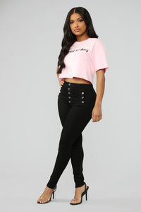 I Need Bags Not Boys Crop Top - Pink