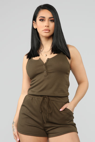 bd442eff9d5e Michelle Ribbed Romper - Olive