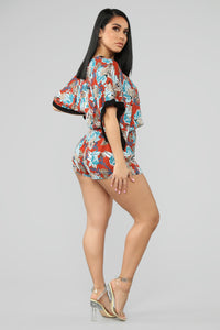 Longing For Change Tropical Romper - Rust/Combo