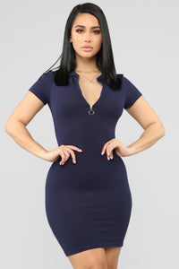 I'm Ready Polo Mini Dress - Navy Angle 1