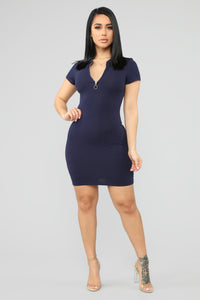 I'm Ready Polo Mini Dress - Navy Angle 2