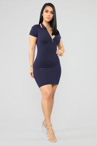 I'm Ready Polo Mini Dress - Navy Angle 3