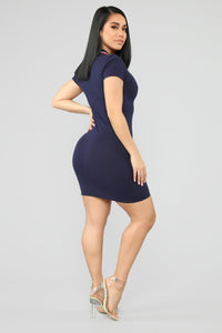 I'm Ready Polo Mini Dress - Navy Angle 4