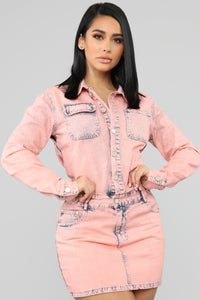 Hopes Are High Denim Mini Dress - Pink