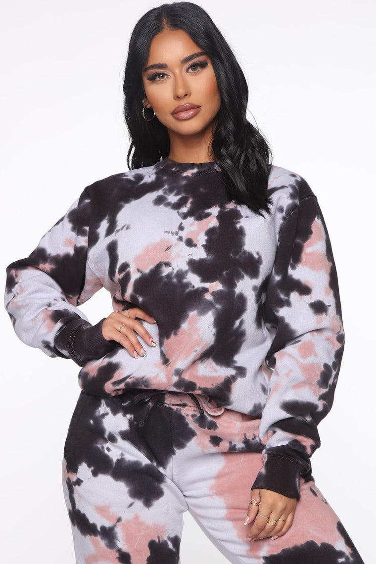 It's A Lifestyle Tie Dye Sweatshirt - Mauve Combo
