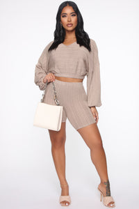 Best Of All Biker Short Set - Taupe Angle 2