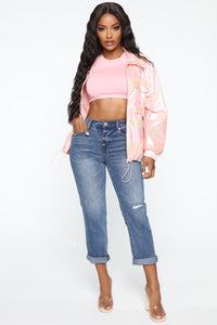 Candy Coated Iridescent Windbreaker Jacket - Pink Angle 3