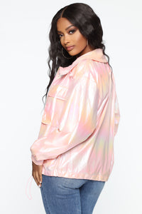 Candy Coated Iridescent Windbreaker Jacket - Pink Angle 4