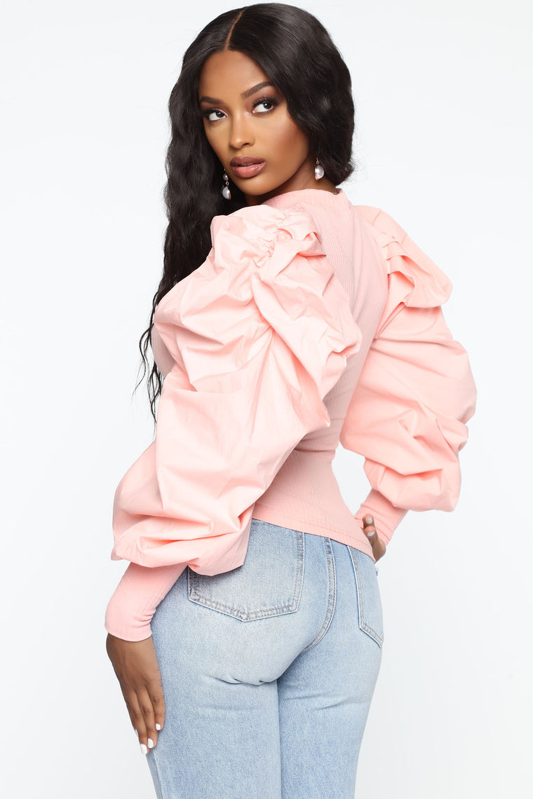 High Profile Puff Sleeve Top - Pink