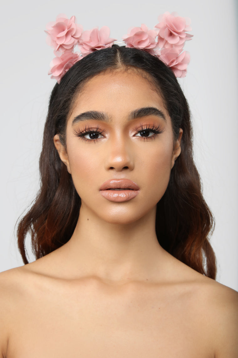 Kitten Around Flower Headband - Blush