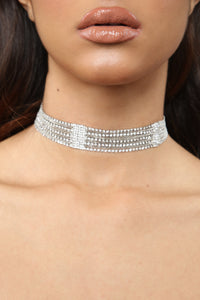 Top Notch Rhinestone Choker - Silver