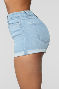 Close In Age High Rise Shorts - Light Blue Wash