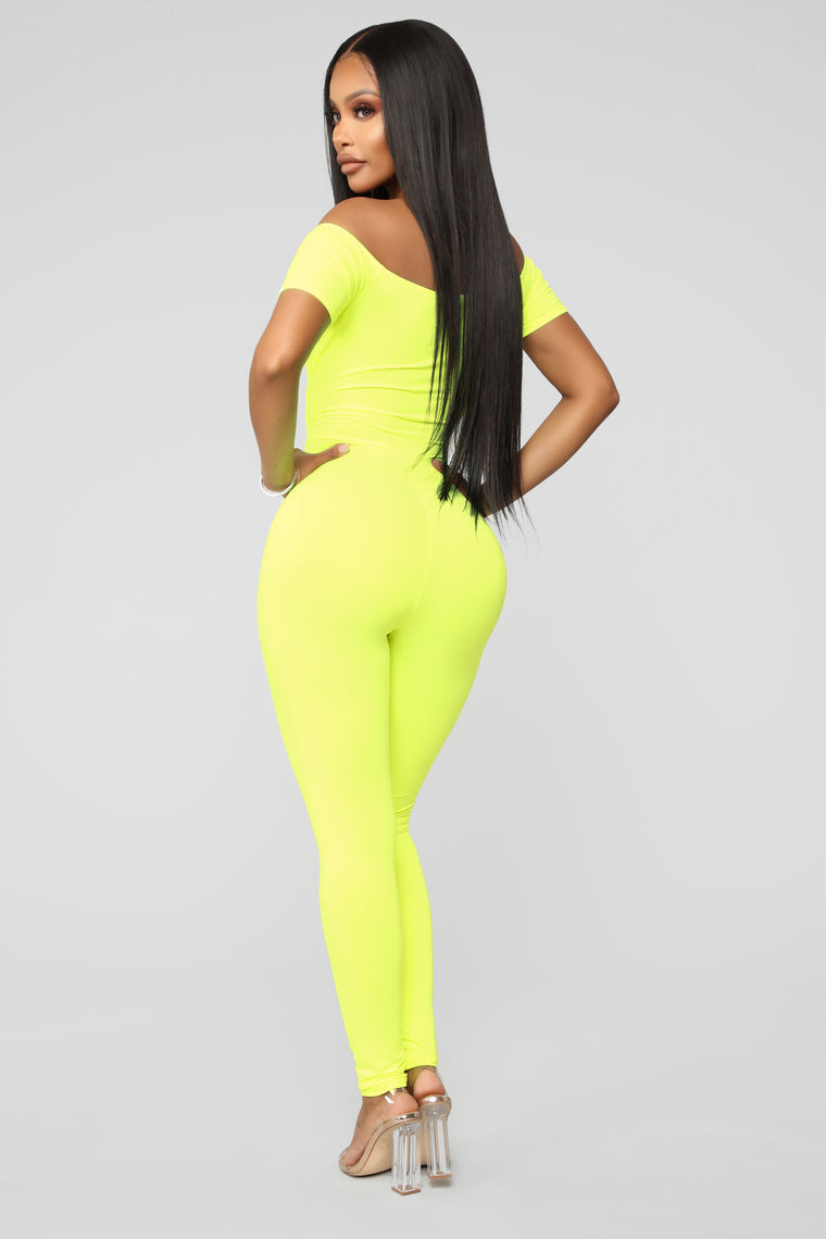 Love Your FN Body Jumpsuit - Neon Yellow