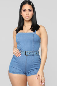 Stuck By Your Side Denim Romper - LightWash