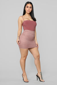 Laced With Love Mini Skirt - Mauve Angle 3