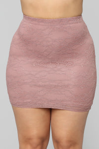 Laced With Love Mini Skirt - Mauve Angle 1