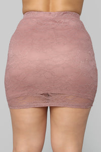 Laced With Love Mini Skirt - Mauve Angle 6