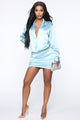 Slip Into Sexy Satin Mini Dress - Blue