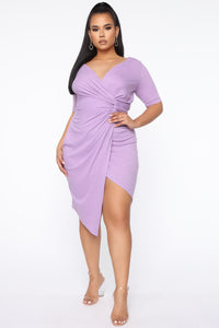So Twisted Ribbed Midi Dress - Lavender Angle 1