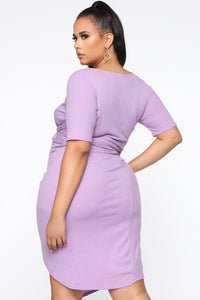 So Twisted Ribbed Midi Dress - Lavender Angle 2