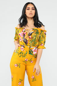Island Time Tropical Jumpsuit - Yellow Combo