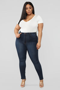 Classic High Waist Skinny Jeans - Dark Denim Angle 13