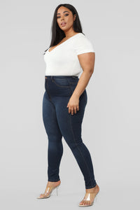 Classic High Waist Skinny Jeans - Dark Denim Angle 14