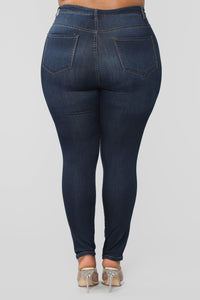 Classic High Waist Skinny Jeans - Dark Denim Angle 17